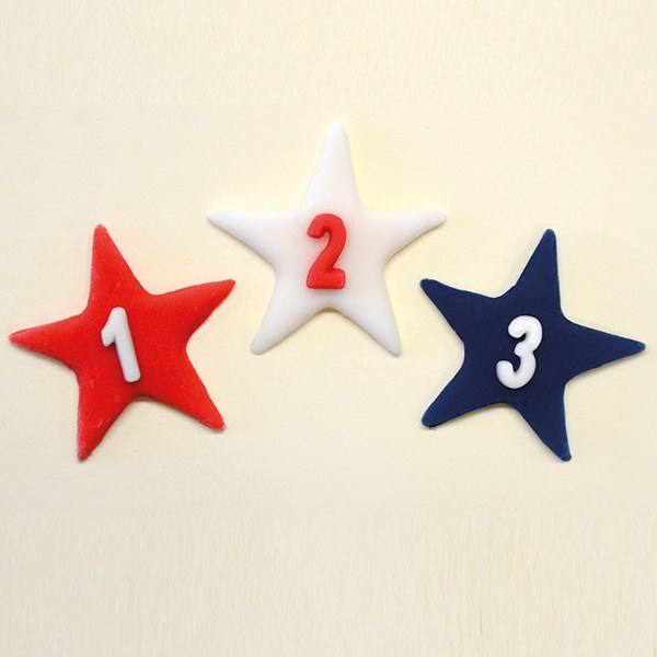 red, white, blue star, 1, 2, 3