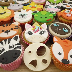 animal face cupcakes, fox, unicorn, zebra, turtle, lion, tiger, cow, duck, polar bear
