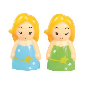 fairy figure, green and blue fairy cake topper