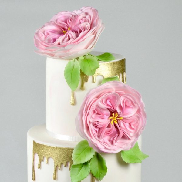 flower, peony, gold, tier cake