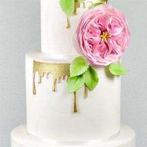 gold drip, tier cake, peony