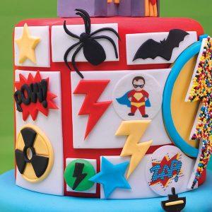 superhero cake, spiderman, batman