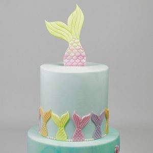mermaid tail cake, ombre blue