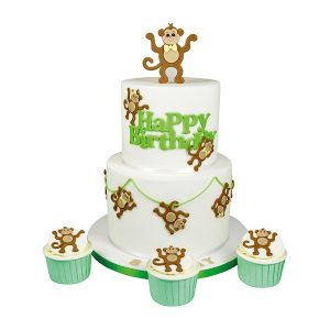 monkey cake, monkey cupcake, green, white