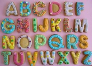 Sugarcraft rainy day baking activity with kids Alphabet Cookies
